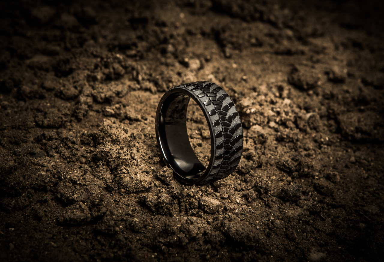 mens goodyear wrangler tire tread ring tire tread wedding band Men s Black Goodyear Wrangler Tire Tread Ring