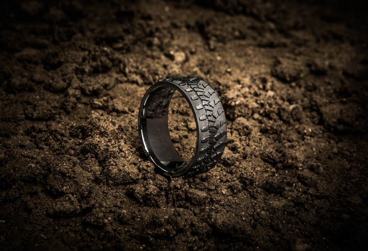 mens titanium goodyear wrangler tire tread ring mud tire wedding ring Men s Titanium Goodyear Wrangler Tire Tread Ring