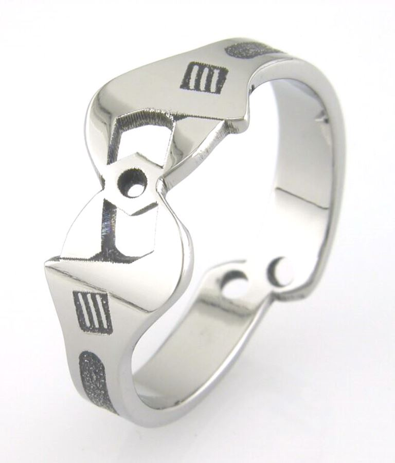 Enfield 1 titanium ring with wrenches | Titanium Wedding Rings ...