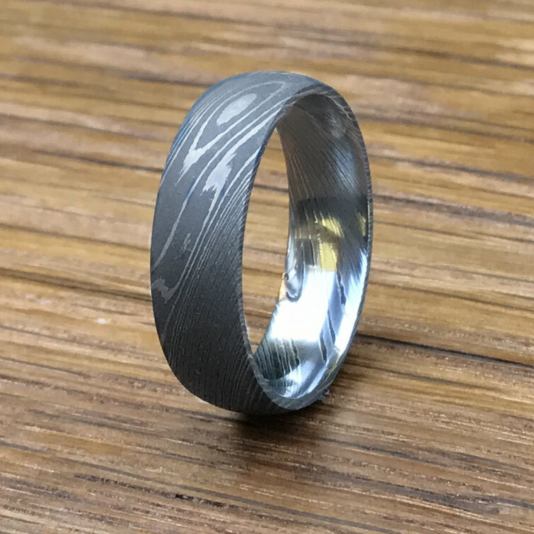 stainless damascus steel wedding band titanium buzz