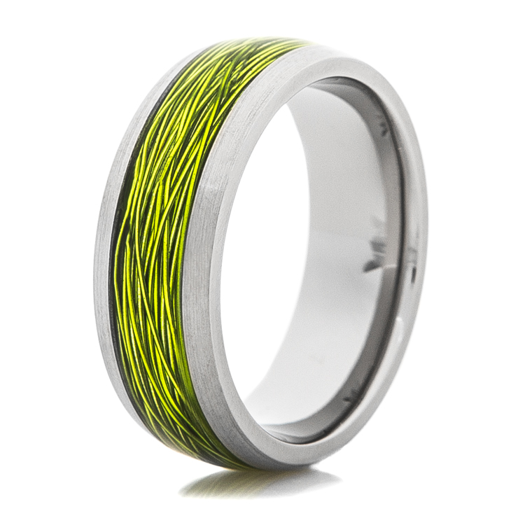 Titanium ring with green fishing wire inlay titanium buzz for Fishing electrical wire
