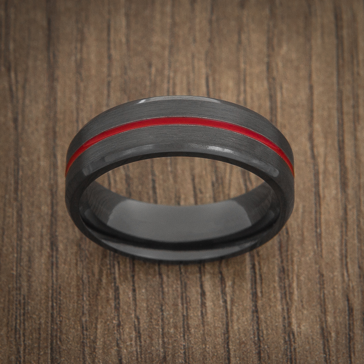 Mens Black Thin Red Line Wedding Ring Titanium Buzz