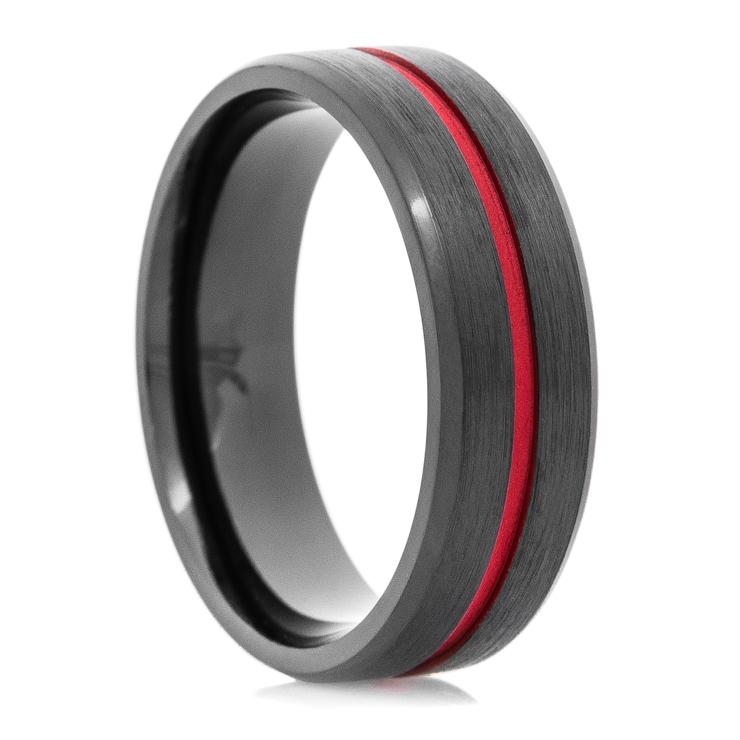 Men's Black Thin Red Line Wedding Ring