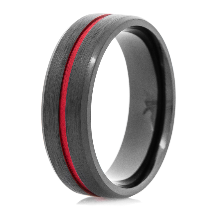 mens black thin red line wedding ring titaniumbuzz