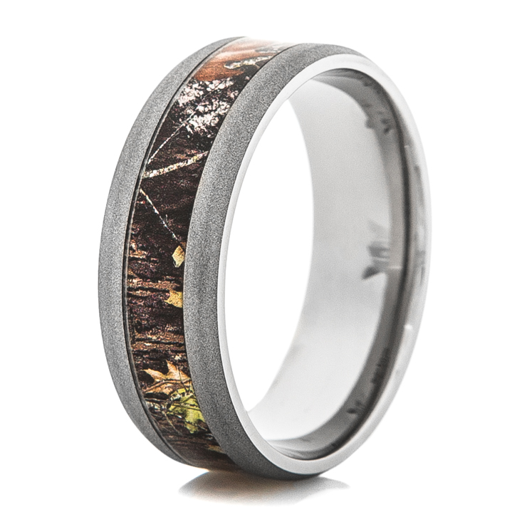 mens sandblasted titanium mossy oak camo ring - Mossy Oak Wedding Rings