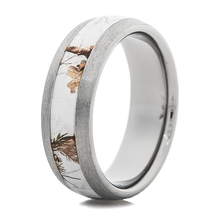 mens stone finish titanium realtree ap snow camo ring - Realtree Wedding Rings