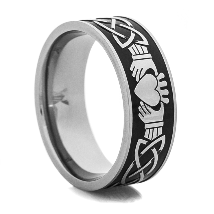 Mens Black and Silver Claddagh Ring TitaniumBuzz
