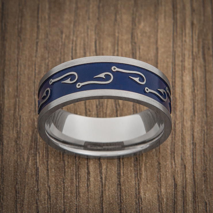 Blue titanium fish hook wedding ring titanium buzz for Fishing wedding band