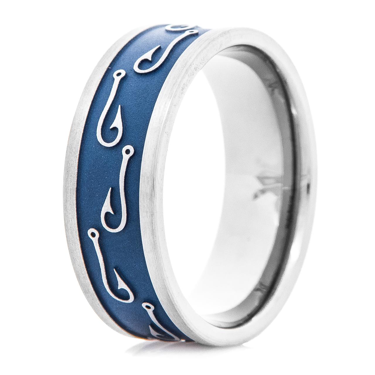 Blue titanium fish hook wedding ring titanium buzz for Mens fishing wedding bands