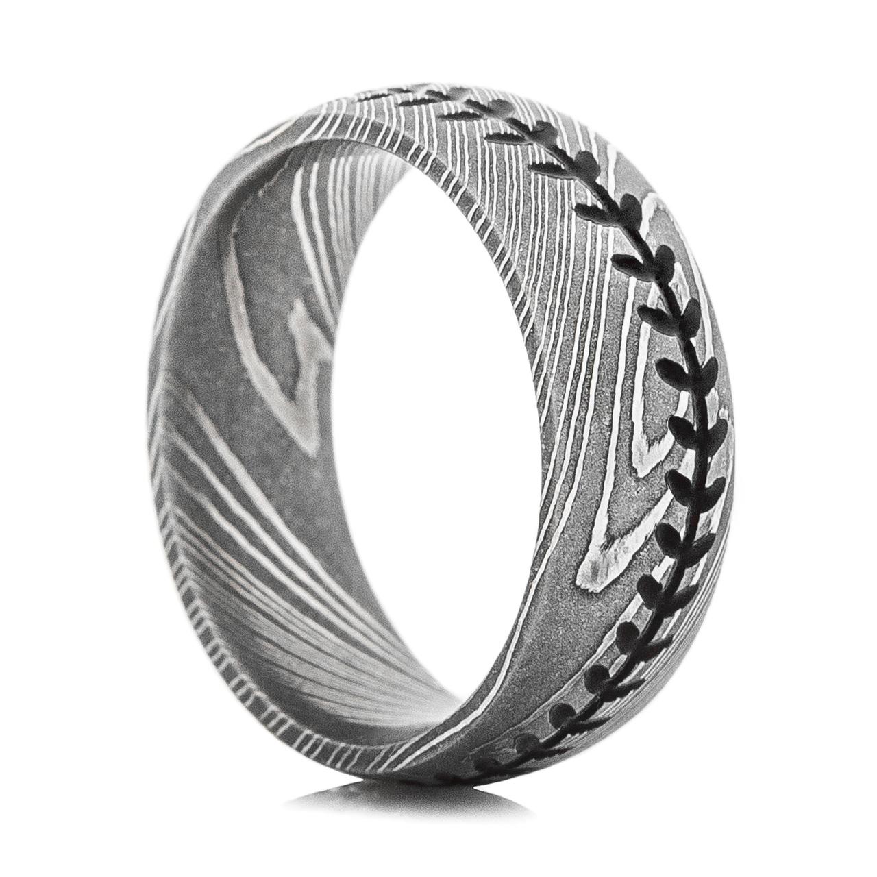 Stitch Ring · Men's Damascus Steel Baseball Stitch