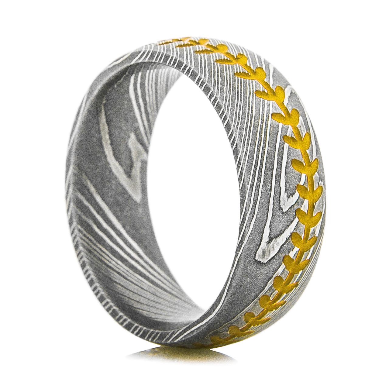Men's Damascus Steel Baseball Stitch Ring
