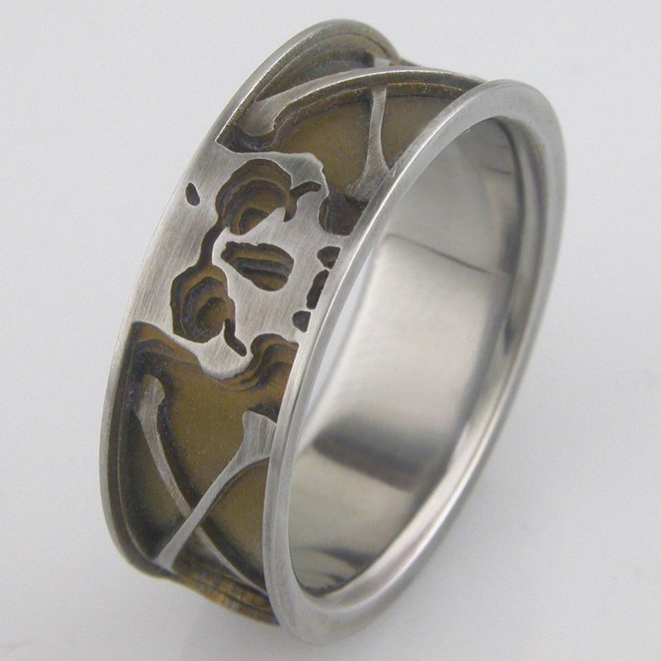 Mens Titanium Skull Crossbones Ring