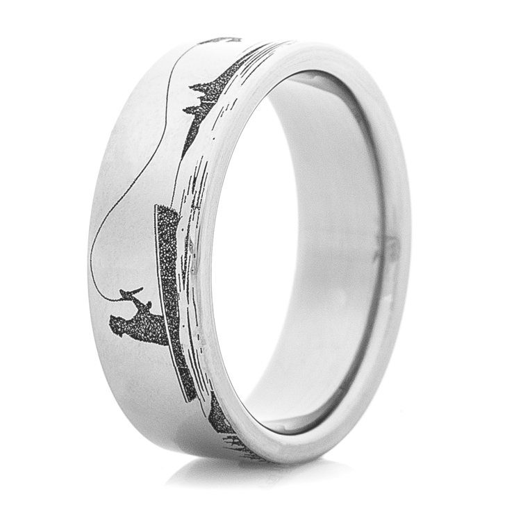 Mens Laser Carved Titanium Fishing Ring Titanium Buzz