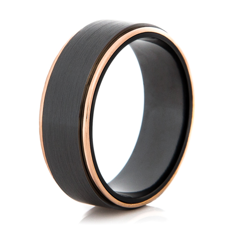 Men's Black Zirconium and Rose Gold Wedding Ring