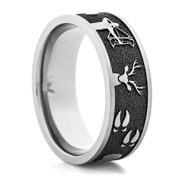 mens laser carved titanium all around hunting wedding ring - Hunting Wedding Rings
