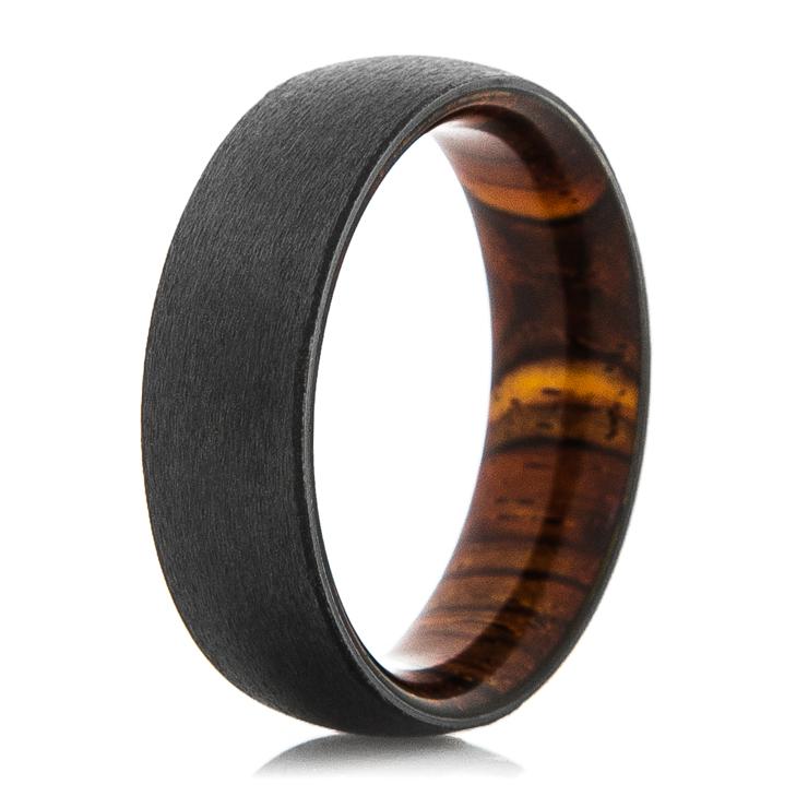 Black Zirconium Ring with Cocobolo Wood Sleeve
