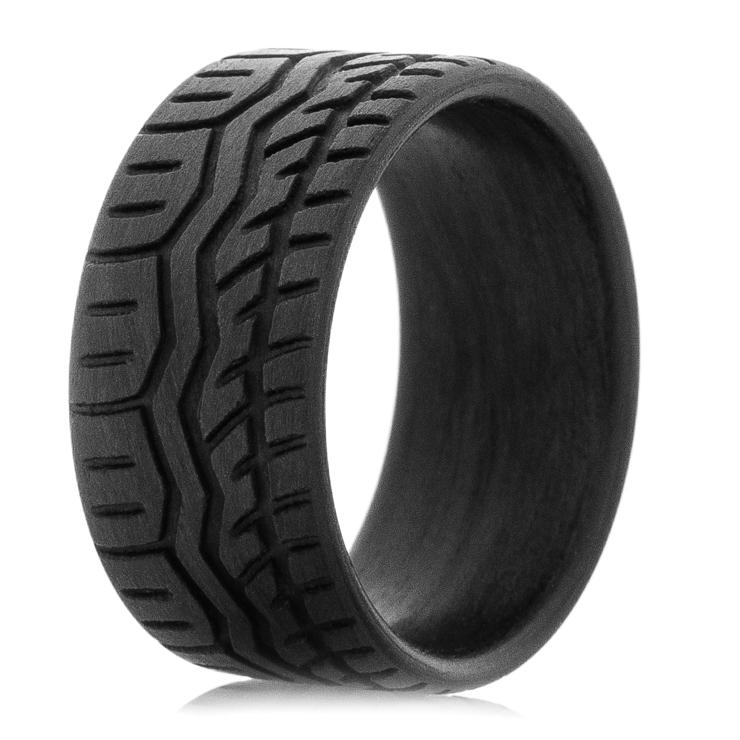 mens carbon fiber drift tire wedding band
