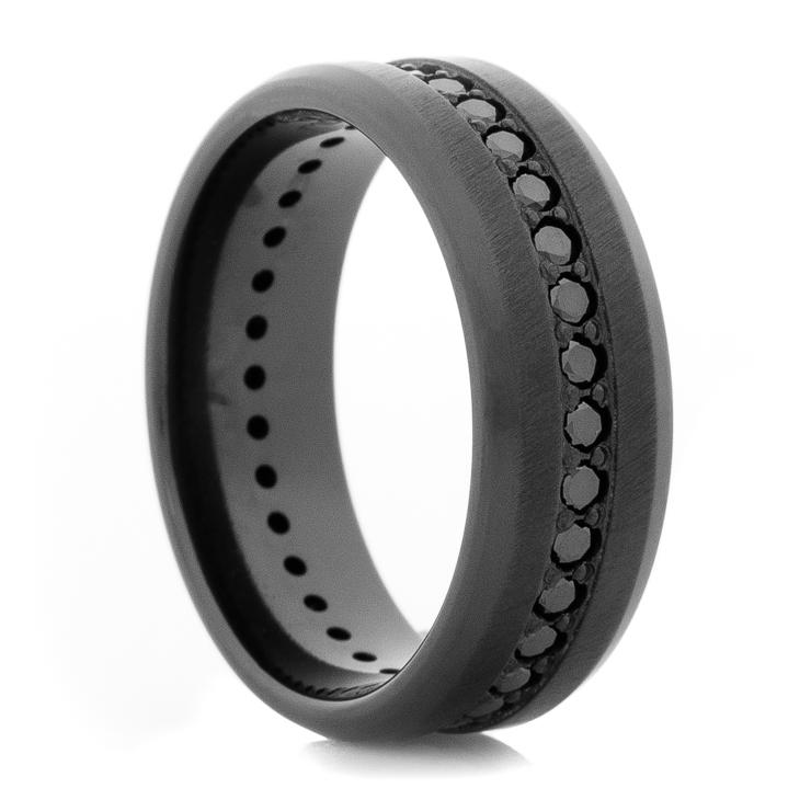 Mens Black Zirconium Black Diamond Eternity Ring Titanium Buzz