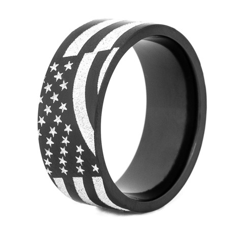 Black Zirconium American Flag Ring By Titanium Buzz