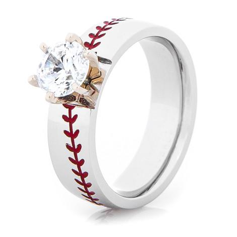 Womens Cobalt Diamond Baseball Ring Titanium Buzz