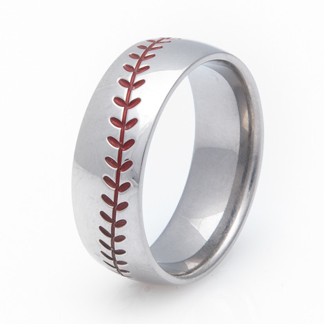 baseball wedding ring titanium baseball wedding ring with color stitching 1509