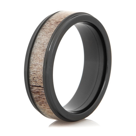 mens black zirconium antler wedding band