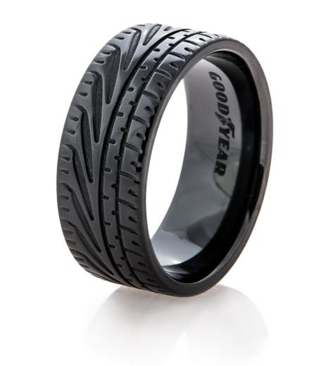 Mens Black Goodyear Eagle F1 Supercar Tire Wedding Ring