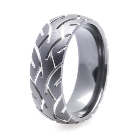 Mens Black Tire Tread Ring