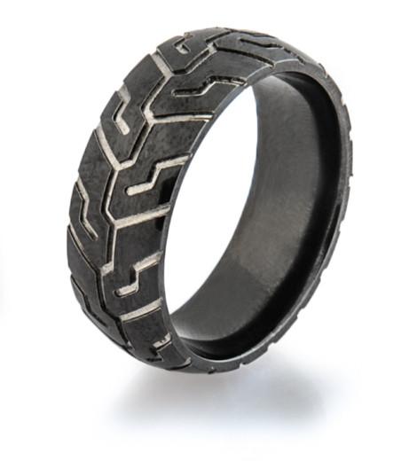 Mens Black Tire Tread Wedding Ring