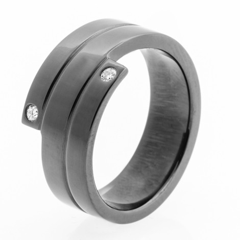 womens black zirconium bypass diamond wedding band