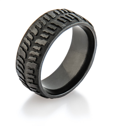 mud tire wedding ring men s blacked out mud bogger ring titanium buzz 6066