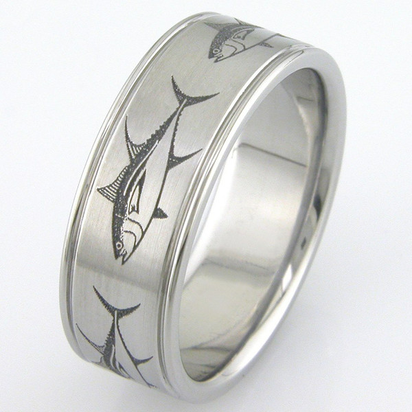 The big fish ring unique titanium rings more for Fishing wedding ring