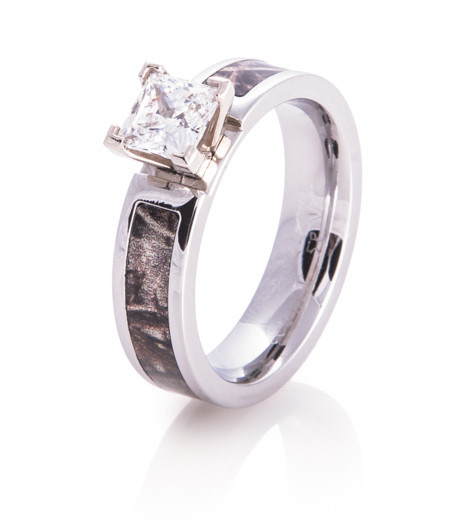 Women\'s Cobalt Chrome Princess Cut Diamond Camo Ring