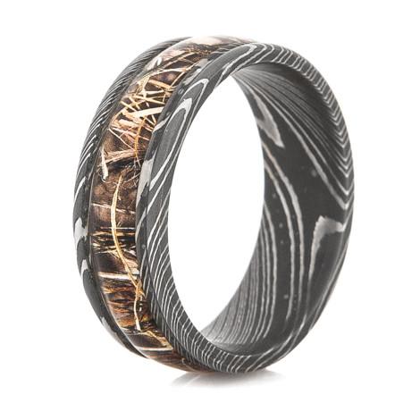 mens damascus steel realtree camo ring - Damascus Wedding Ring