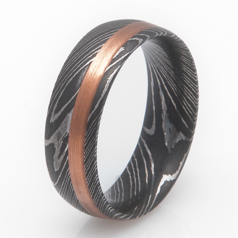 damascus steel ring with copper inlay titanium buzz