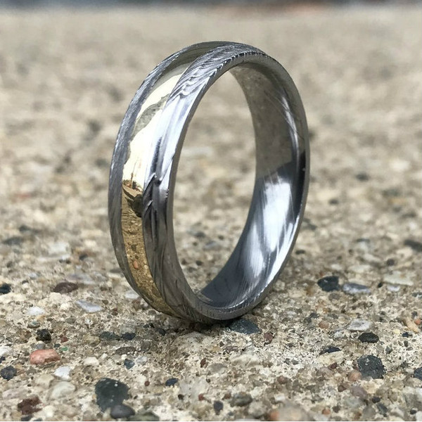 Damascus Wedding Ring W Yellow Gold Inlay Stainless