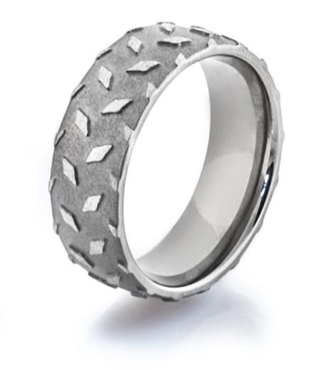 Mens Titanium Diamond Plate Wedding Ring