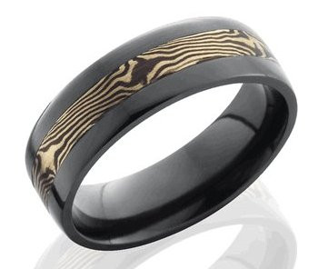 Mens Black Band With 14K Rose Gold And Shakudo Mokume Gane Inlay