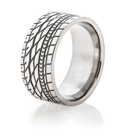 Mens Titanium Goodyear Eagle Tire Tread Band