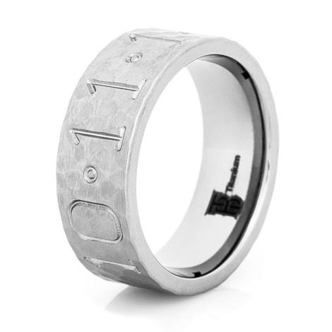 mens hammered titanium duck band wedding ring