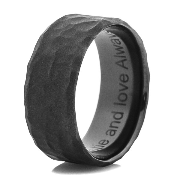 Men S Hammered Flat Black Wedding Band Titanium Buzz