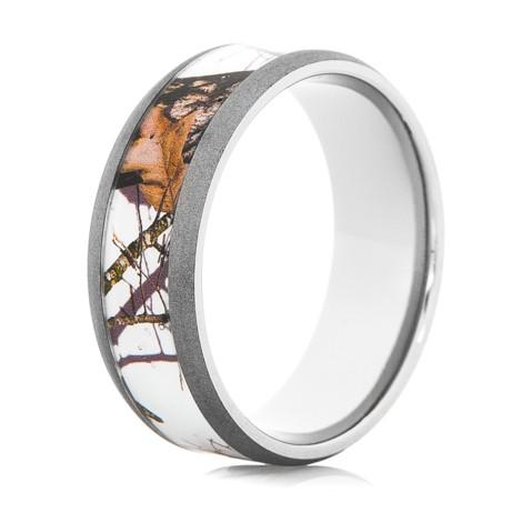 Mens Mossy Oak Snow Camo Ring Unique Titanium Rings More