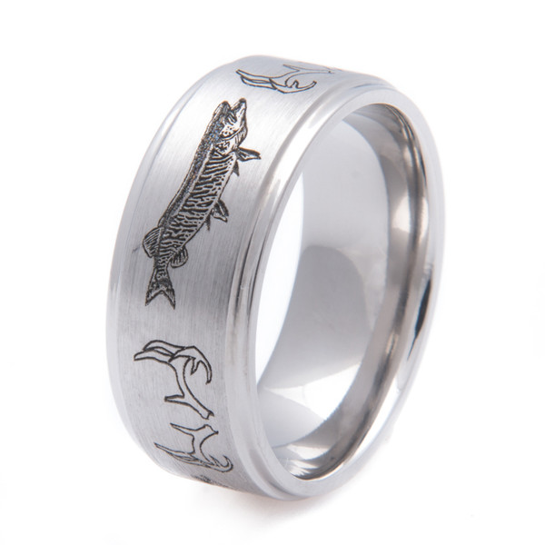 fishing wedding ring antler and musky and fishing band titanium buzz 4088