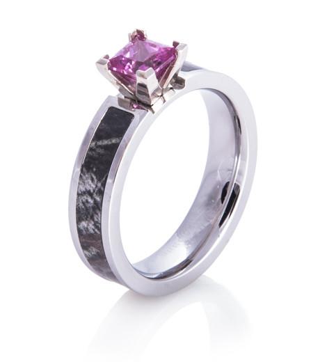 womens cobalt chrome pink stone camo ring - Pink Camo Wedding Ring