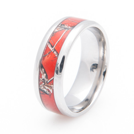 womens titanium realtree ap red camo wedding ring - Realtree Camo Wedding Rings