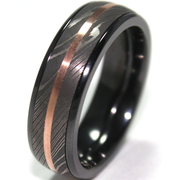 Mens Black Zirconium Ring With Damascus Steel And 14K Rose Gold Inlays