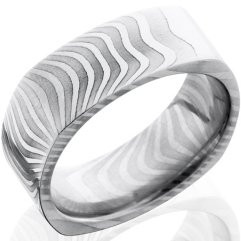 Damascus Steel Tiger Ring Square Profile Tiger Bands By