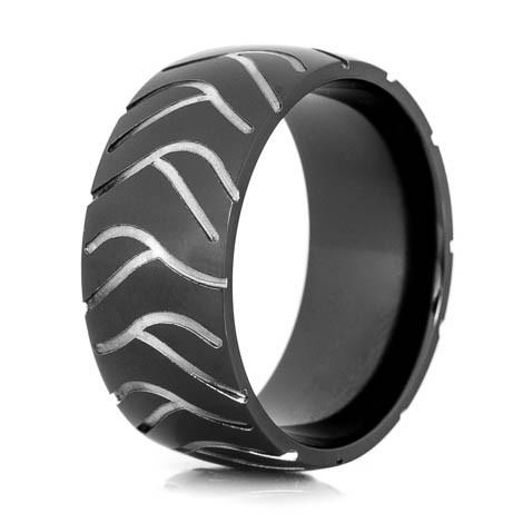 mens black super cycle motorcycle ring - Mens Black Wedding Ring