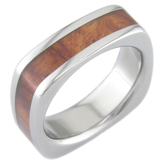 Wood Mens Wedding Bands Canada: Men's Square Titanium & Amboyna Wood Inlay Ring