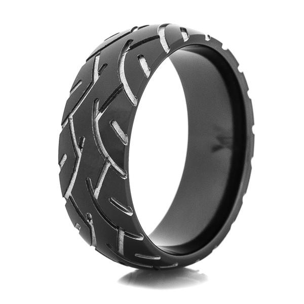 Mens Black Super Slick Tire Tread Ring